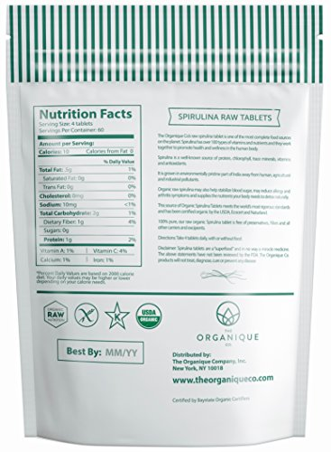 Spirulina Tablets 240ct 500m - Boosts Energy, Supports Immunity - Certified Organic Superfood, Non-Irradiated, Raw, Non-GMO, Vegan, Gluten Free - Nutrient Density Bioavailability - by Organique by The Organique Co. (Image #1)