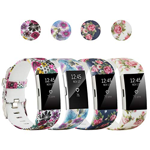 honecumi Colorful Watch Band Replacement for Fitbit Charge 2 Wrist Strap for Men & Women Quick Release Strap Band Compatible with Fitbit Charge 2 Smart Watch-Large Size -Flowers
