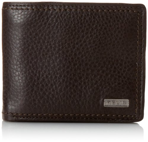 (Relic by Fossil Men's Leather Traveler Bifold Wallet, Mark Brown, One)