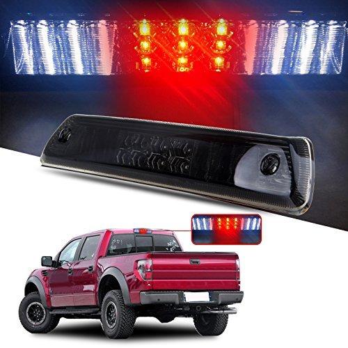 - High Mount Brake Lights for 2009-2014 Ford F150 Full Red Lens LED 3RD Third Brake Cargo Rear Tail Lights (Smoke)