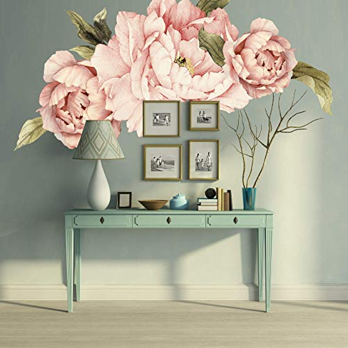 (Murwall Pink Peonies Wall Decals Floral Wall Decal Peel and Stick Wallpaper Sticker)