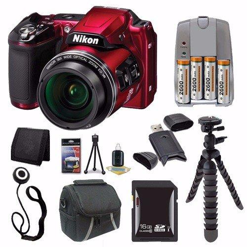 Nikon Coolpix l840デジタルカメラ(レッド) (インターナショナルモデル保証なし) + 4 AAパックNiMH充電式電池と充電器+ 16 GB SDHCカード+ケース+ミニ柔軟な三脚セーバーバンドル   B016LI6WHY