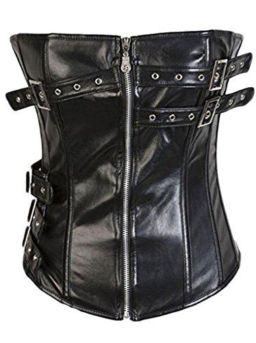 Corset Front Buckle (Lotsyle Faux Leather Zipper Front Corset Buckles Side Bustier-XL)