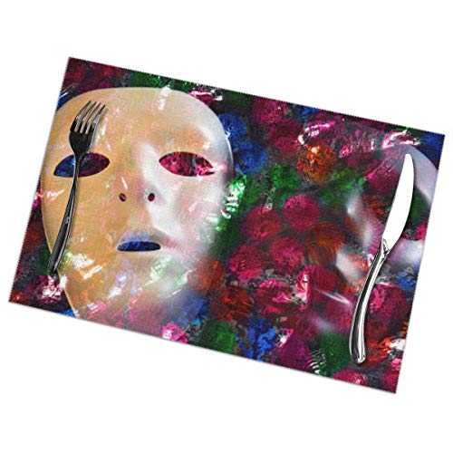 Heat-Resistant Placemats Set of 6 Dining Table Place Mats Two Faces Masks Placemat Non-Slip Washable ()