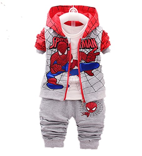 3pcs/Set Baby Clothing Spiderman Coat+ T-Shirt+Patchwork Pants Sets (Grey, 3-4 Years) by Nine Minow