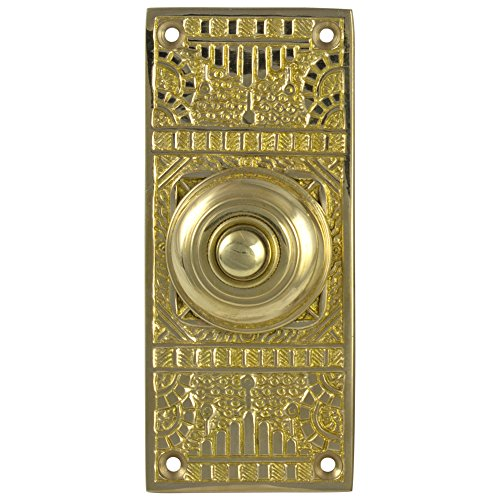 (Victorian Vintage REPLICA Door BELL BUTTON electric solid brass hardware old home)