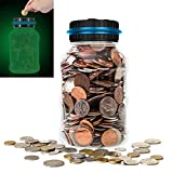Digital Piggy Bank Glowing in The Dark, ALLOMN Automatic Coin Counting Money Box Jar with Large LCD Display for US Coins