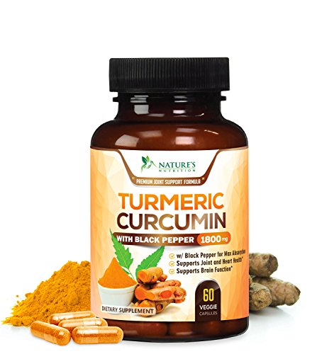 Turmeric Curcumin Max Potency 95% Curcuminoids 1800mg with Black Pepper Extract for Best Absorption, Anti-Inflammatory for Joint Relief, Turmeric Powder Supplement by Nature's Nutrition - 60 Capsules