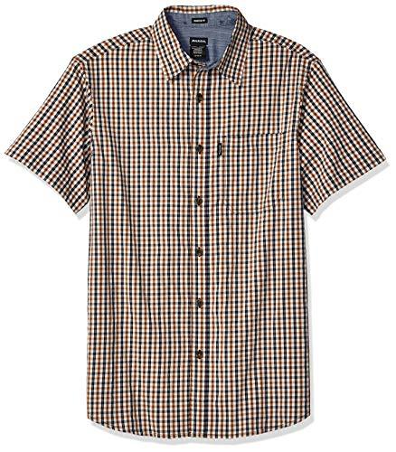 - Dickies Men's Flex Modern Fit Short Sleeve Yarn Dyed Plaid Shirt, Rinsed Brown Duck/Black, 2X