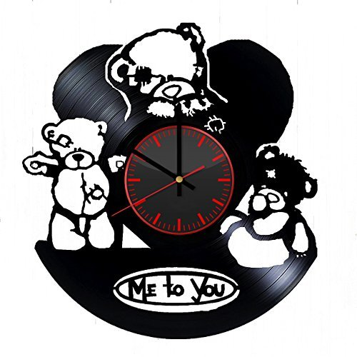 (Taniastore Teddy Bear Me to You Vinyl Record Wall Clock Unique gifts for him her Gift Ideas for Mothers Day Father birthday anniversary wedding cute and original gifts for everybody)