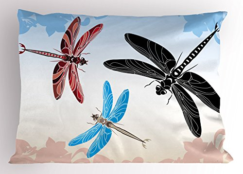 Ambesonne Dragonfly Pillow Sham, Exotic Dragonflies Flying in Cloud Sky Animal Wing Nature Illustration, Decorative Standard King Size Printed Pillowcase, 36 X 20 inches, Black Blue Light Pink by Ambesonne