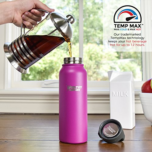 Healthy Human Insulated Stainless Steel Water Bottle Stein - Cold 24 Hrs/Hot 12 Hrs - Double Walled Vacuum Thermos Flask with Hydro Guide & Carabiner - 16 oz Mulberry by Healthy Human (Image #3)