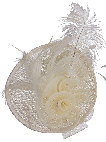 Vijiv Women Vintage Derby Fascinator Hat Pillbox Headband Feather Cocktail Tea Party, Beige, One Size (20s Womens Hats)