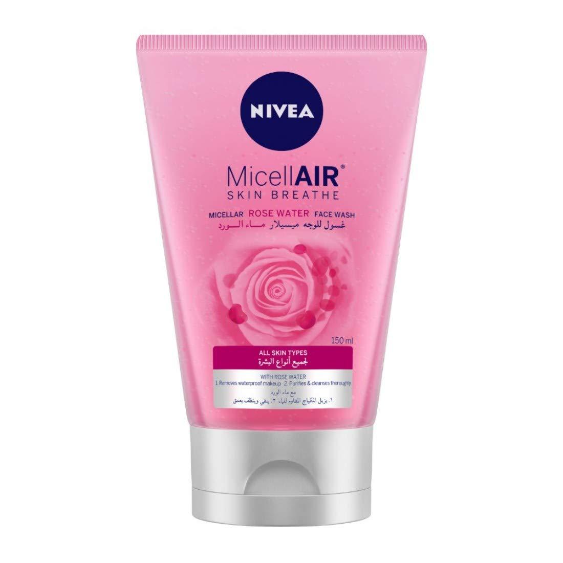 NIVEA Micellar Face Wash, MicellAIR Skin Breathe Rose Water,150ml