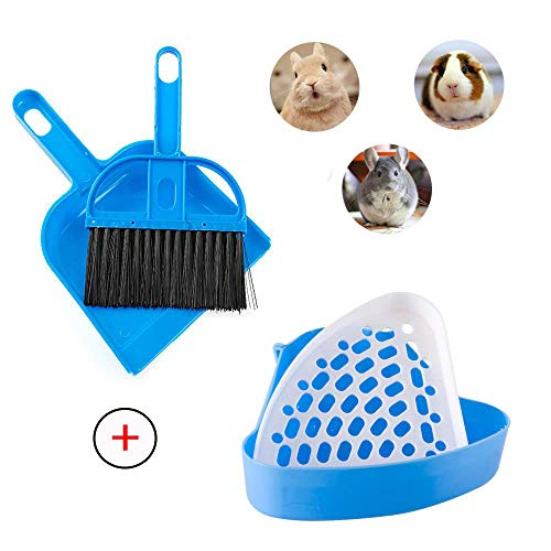 Bunny Litter Box Hamster Bedding Tray Corner Litter Pan Bunny Potty Rat Toilet Cage Cleaner Poop Scooper Hand Broom and Dustpan Set for Rabbits Ferrets Guinea Pigs Rats Dwarf Rabbits Chinchillas