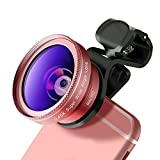 CYKE Phone Camera Lens kit, 0.45X Wide-Angle + 12.5X Macro Clip On Lens for iPhone 7 / 8 / 6s / 6Plus, Samsung,LG Other Android Suit One Camera Smartphones (Rose Gold)