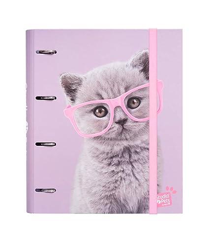 Erik Studio Pets Cats - Archivador de 4 anillas (tapa dura, 26 x ...
