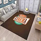 Movie Theater Bath Mats for Floors Retro Style Cinema Sign Design Film Festival Hollywood Theme Door Mat Indoors Bathroom Mats Non Slip Brown Turquoise Vermilion
