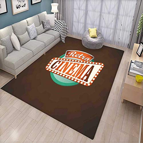 Movie Theater Bath Mats for Floors Retro Style Cinema Sign Design Film Festival Hollywood Theme Door Mat Indoors Bathroom Mats Non Slip Brown Turquoise Vermilion by smallbeefly