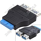 ( LittleSomething ) Standard Dual USB 3.0 Type A Female to Motherboard 20-Pin Header Connector Adapter Converter for PC Motherboard ---------- Audio / Video > accessories