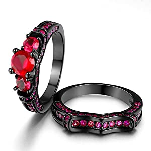 "Zealmer 2pcs Ruby ""Past Present & Future"" Cubic Zirconia CZ Black Gold Plated Tri-stone Ring Set"