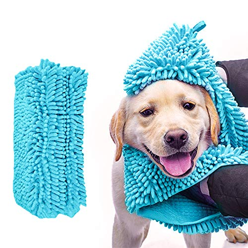 Urijk Dog Bath Dry Towels, Dog Soft Fine Fiber Chenille Fast Drying Towel for Mud,Durable Washable Pet Bath Dog Towel with Hand Pockets for Small Medium Large Dog Cat