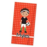 Soccer Beach Towel - Orange Soccer Boy Personalized Name Light Weight Pool Towel