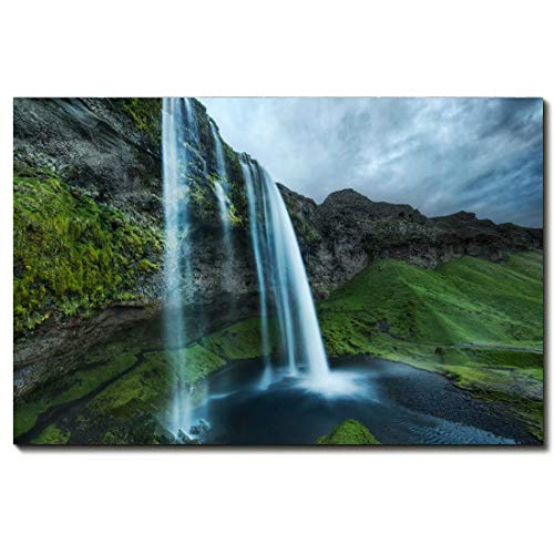 Landscape Scenery Canvas Art Print By PaintingsCanvas Wall Art For Bedroom Home Office Decorations -Mountain Waterfall Picture -