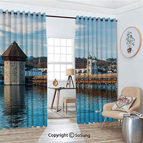 Blackout Window Curtains,Panoramic View of Oak Chapel Bridge Northern Lands Lake European Aged City Print Living Room Bedroom Thermal Insulated Window Drapes 2 Panel Set, 54