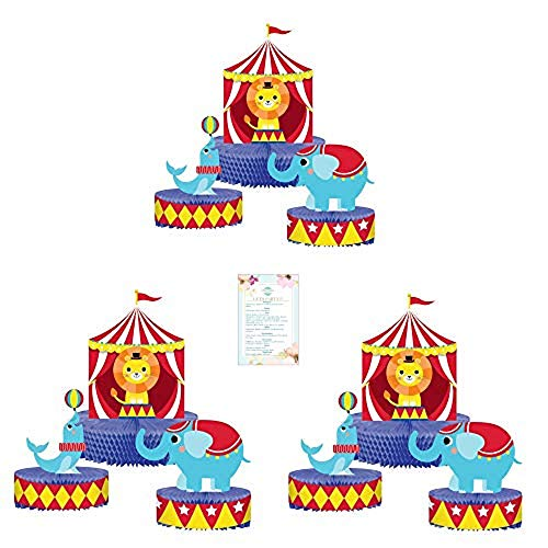 Three 3pc Circus Table Centerpieces (with Party Planning Checklist) -