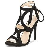 JSUN7 Women's Lace-up Stiletto High Heel Sandals Basic Office Summer Dress Shoes Open Toe Party Pumps Black 8.5