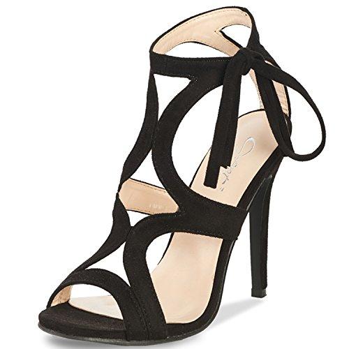 (JSUN7 Women's Lace-up Stiletto High Heel Sandals Basic Office Summer Dress Shoes Open Toe Party Pumps Black)