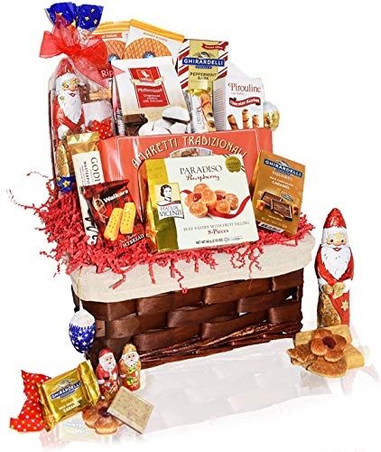 Christmas Gift Food Baskets Chocolate, Santa, Cookies, Candy, Waffles – Perfect Care Package Gifts for College Students, Couples, Military, Women, Men, Family, Friends, Boys, Girls