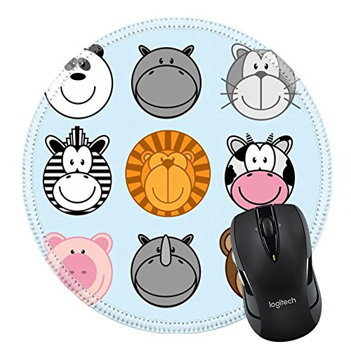 Cow Tabletop (MSD Mousepad Round Mouse Pad/Mat 19541148 Stain Resistance Kit Kitchen Table Top Desk C set of funny animal monkey panda hippo cat ox zebra lion cow dog pig rhinoceros bear)