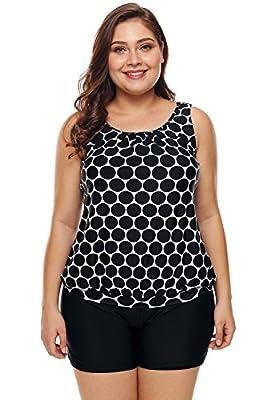 Aleumdr Women's Plus Size Polka Dot Tankini Set Two Piece Swimwear with Boyshort