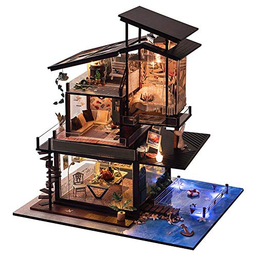 New-look Wooden Dollhouse Kit Miniature DIY Cabin Hand-Assembled Home Decoration Holiday Birthday Gift Valencia Coast Villa with Music Movement Without dust ()
