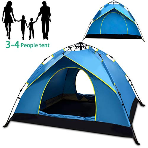 Hairy Nose Bear 3-4 Person Tent for Camping, Instant Automatic Pop Up Family Tent,Folding Waterproof Tent for Outdoor Camping Hiking,Fishing,Traveling