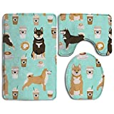 MKILIJNH Shiba Inu Coffee Print Dog Coffees 3 Piece Bathroom Rug Mat Set Soft Memory Foam Bath Carpet Contour Rug Lid Cover