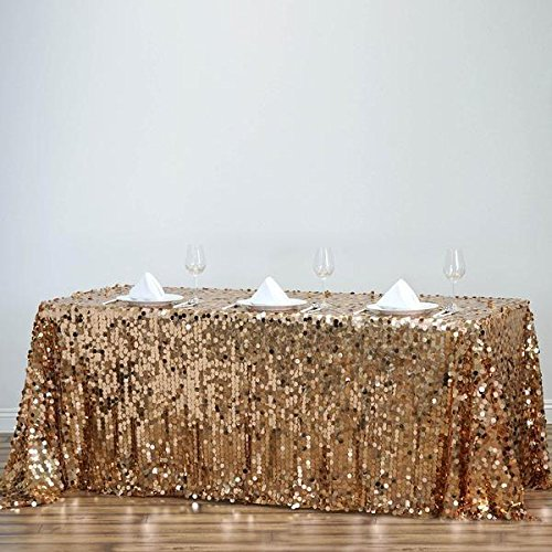 Efavormart 90X132 Gold Premium Big Payette Sparkly Sequin Rectangle Tablecloth for Wedding Banquet Party Kitchen Dining Catering