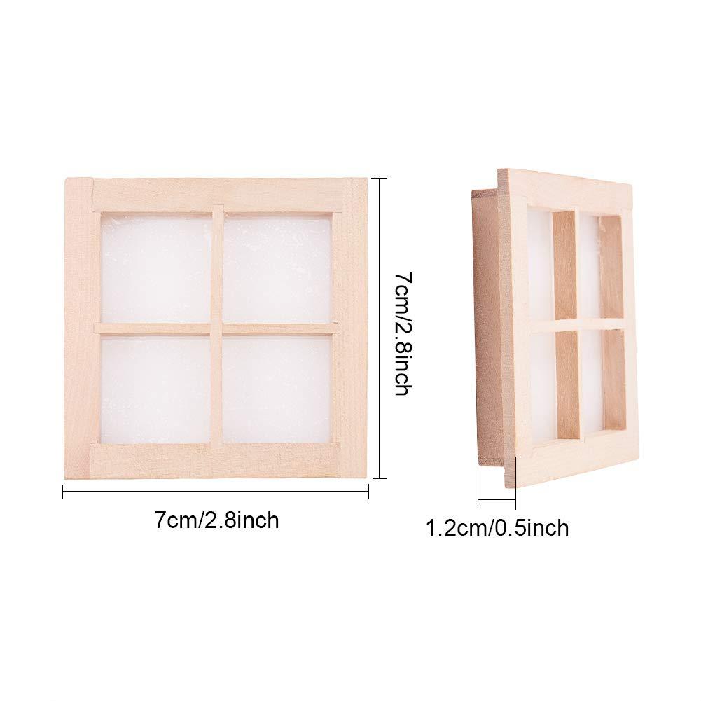 2 pi/èces Accessoire de Bricolage WANDIC Fen/être Miniature en Bois /à 4 Panneaux Cadre de fen/être en Bois