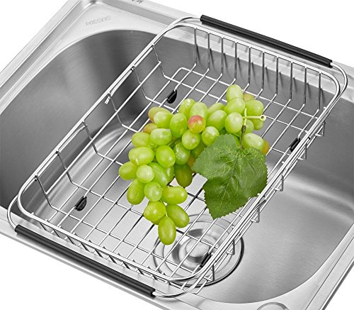 Adjustable Over the Sink Dish Drainer Dish Drying Rack, Stainless Steel Dish Rack Functional Kitchen Strainer for Drying Vegetables and Fruit, Silverware- Rustproof -
