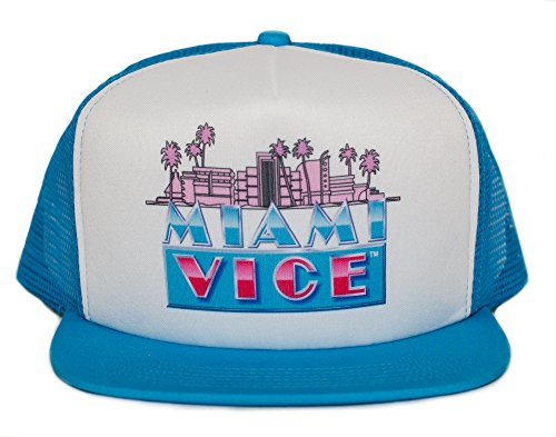 Miami Vice 80s Unisex-Adult One-size Trucker Hat Aqua/White ()