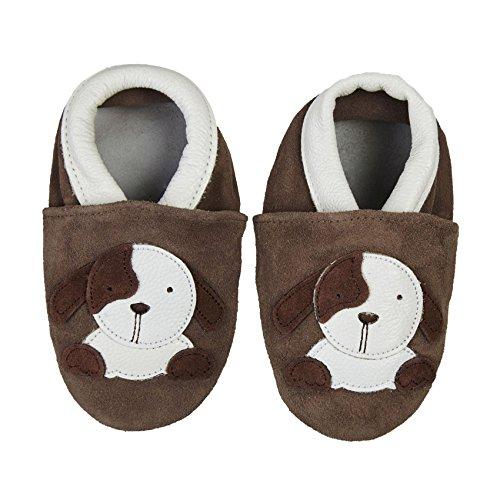 SmileBaby Premium Leder Lauflernschuhe für Jungen und Mädchen Krabbelschuhe Babyschuhe mit verschiedenen Motiven Braun Hund