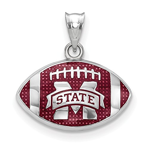 Sterling Silver Mississippi State University NCAA Mississippi Jewelry Pendants & Charms Brown 17 mm 19 mm Mississippi State Univ. Enameled Football Pendant