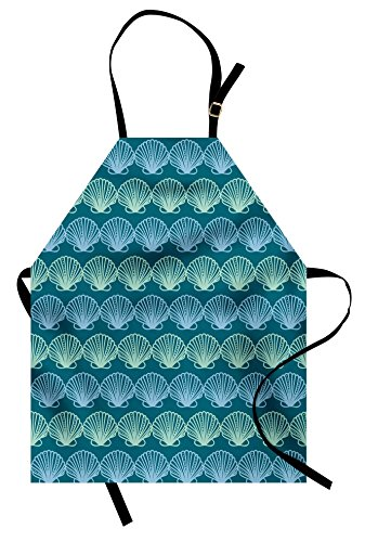 (Lunarable Ocean Apron, Sealife Image with Under Water Colored Hand Drawn Sea Shells Art, Unisex Kitchen Bib Apron with Adjustable Neck for Cooking Baking Gardening, Pale Blue Teal and)
