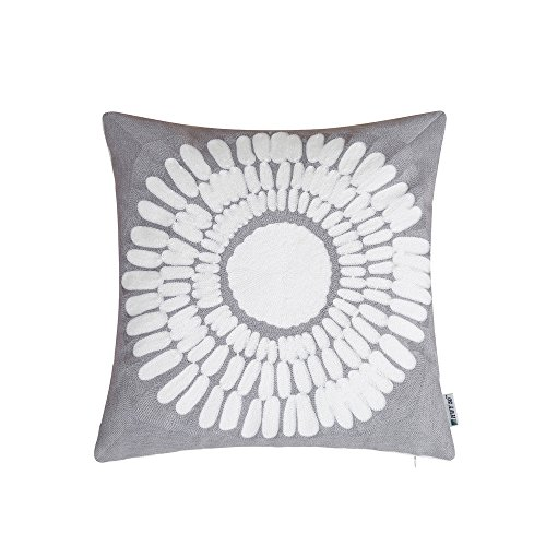 HWY 50 Couch Pillows Covers 18 x 18 inch , Cotton Canvas Embroidered Home Decorative Dark Grey Geometric Throw Pillows Cases For Sofa / Bed Euro Big Sunflower Cushion Covers (Halloween Sales Motivation)