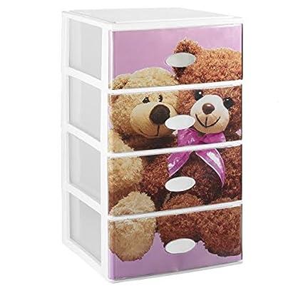 Cassetti In Plastica Componibili.Great Plastic Cassettiera Componibile Con 4 Cassetti Parte Frontale Trasparente Con Decorazione Per Bambini Colore Rosa Bianco Set Di 21 Pz