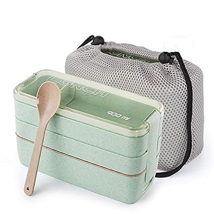 Horno microondas box lunch box portátil lattice estudiantes encantador gimnasio grasas,Verde [con bolsas
