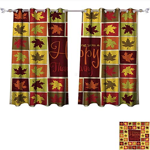 6 Light Sturbridge (TextileLIHome Blackout Curtains Bright Mosaic Thanksgiving Card in Vector Format 6 Darkening Bedroom and Living Room Curtains W55 x L45/Pair)