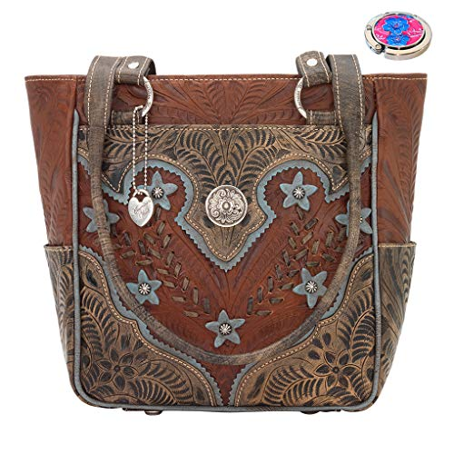 American West Leather - Multi Compartment Tote Bag -Purse Holder Bundle (Desert Wildflower - - Tooled American West